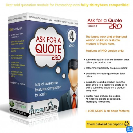 Ask for a quote PRO module for thirtybees